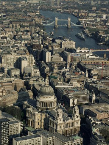 Photographic Print: Aerial View of St. Pauls Cathedral, Tower Bridge and the River Thames, London, England by Adam Woolfitt :