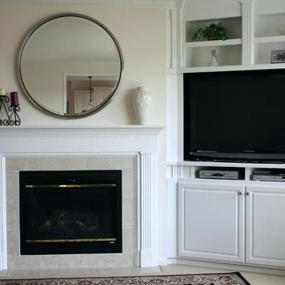Fireplace With Mantle With Tv Beside Google Search Fireplace Built Ins Freestanding Fireplace Built In Tv Cabinet