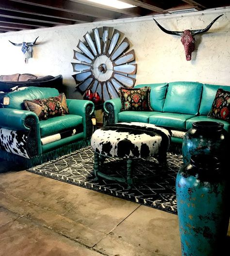 Searching for custom rustic living room furniture in Dallas Texas? Cowhide Western Furniture is the right place. Cowboy Home Decor, Western Bedroom Decor, Western Living Rooms, Rustic Living Room Furniture, Western Furniture, Living Room Paint, My Living Room, Western House Decor, Vintage Western Decor