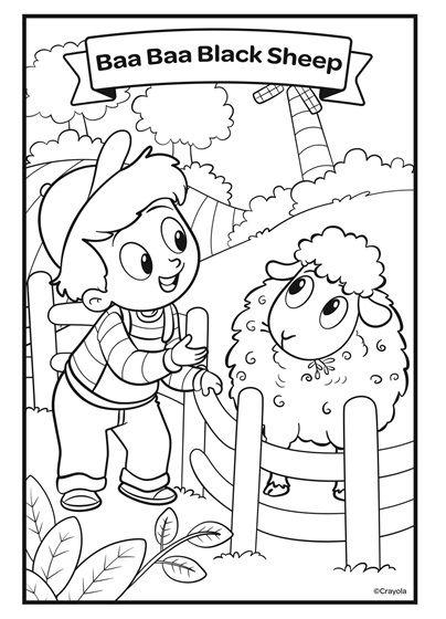Nursery Rhymes Baa Baa Black Sheep Crayola Com Baa Baa Black Sheep Crayola Coloring Pages Coloring Pages