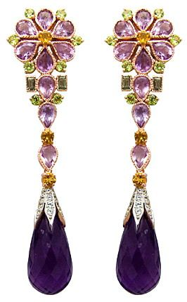 Butler & Wilson Amethyst Flower and Green Sapphire Long Earrings featuring gold plated sterling silver, amethyst(68.7K), white topaz(0.5K), peridot, green sapphire(5.1k)