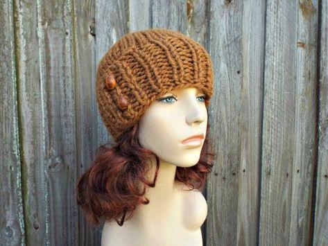 24c913495f136 Chunky Knit Hat Womens Beanie Hazelnut Brown Knit Hat - Brown Hat Brown  Beanie Brown Winter Hat - Lydia Fitted Beanie - READY TO SHIP