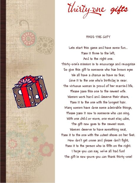 Thirty One Gift Marketing Idea | Here's the coupon: Pass the Gift $5 winner