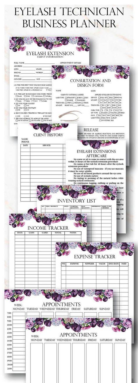 Floral Eyelash Extension Client Forms, Printable Client - inventory list form