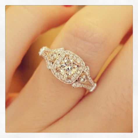 A gorgeous @gabrielandco cushion cut halo engagement ring