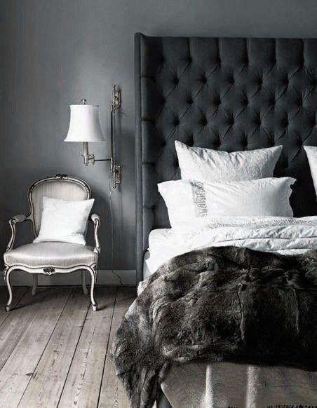 Black Tufted Headboard Bedroom Ideas: 30 Dramatic Bedroom Ideas   Dove grey  Gray bedroom and Duvet,