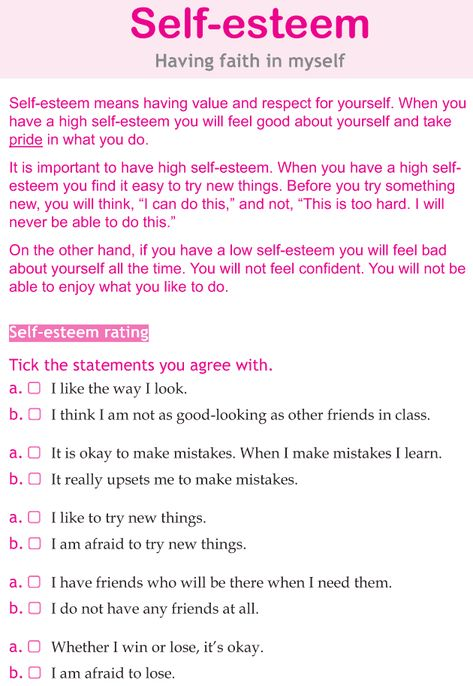 """A Self- Esteem Checklist. I don't relieve believe in the terminology """"self-esteem"""", for me, it's more like """"self-worth"""", but this list can be helpful to get a better understanding of an individual's view of themselves."""