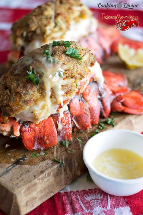 cookingdivine.com Crab  Bacon Stuffed Maine Lobster Tails 5 Stars - 2 reviews · 20 minutes · Makes 2-4 · Crab and Bacon Stuffed Lobster Tails - baked in the oven and served fresh! Cooking Divine 822 followers