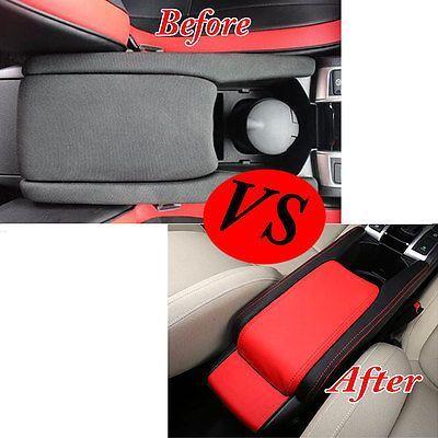 Center Armrest Box Surface Case Cover Trim Leather Blk Red For Honda Civic 16 17 Honda Civic Civic Hatchback Honda Civic Hatchback