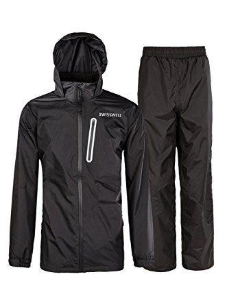 Rain Suit Gear Coat for Men Waterproof Hooded Rainwear Jacket /& Trouser