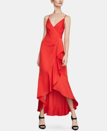 Bcbgmaxazria Satin High Low Dress Red 14 Cold Shoulder Gown Dresses Red Evening Dress