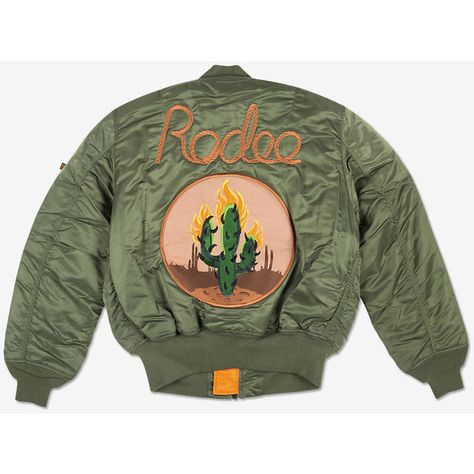 49db96343262 Alpha Industries, Travi$ Scott Rodeo Cactus Bomber What Drops Now ❤ liked  on Polyvore featuring outerwear, jackets, patch jacket, alpha industries  jacket, ...