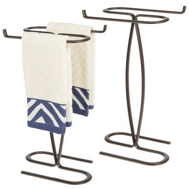 Mdesign Bathroom Countertop Guest Hand Towel Stand Holder Graphite Gray Handtowels Guest Hand Towels Hand Towel Stand Vertical Paper Towel Holder