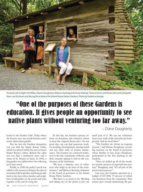 Daniel Boone Native Gardens celebrates 50 years, High Country Magazine July 2013. #horninthewest #danielboonepark #boonenc