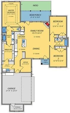 Spacious Open Floor Plan - 83845JW   1st Floor Master Suite, CAD Available, Den-Office-Library-Study, Narrow Lot, PDF, Photo Gallery, Southern, Split Bedrooms, Traditional   Architectural Designs