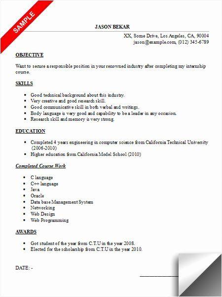 Computer Science Internship Resume New Internship Resume Sample Limeresumes In 2020 Internship Resume Resume Objective Examples Resume Objective