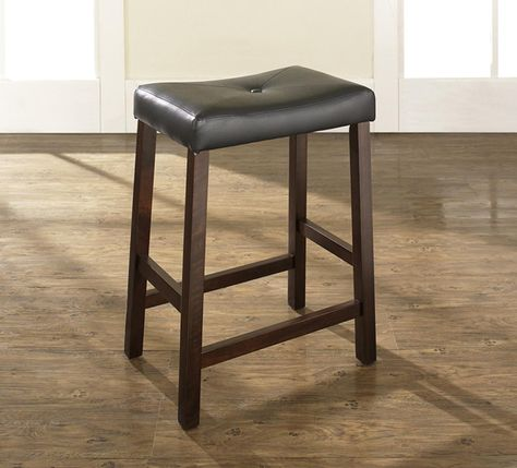 Charming Black Leather Saddle Sareat Bar Stool With 24 Inch Seat