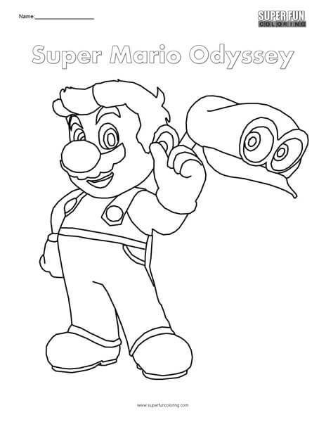mario odyssey cappy coloring page