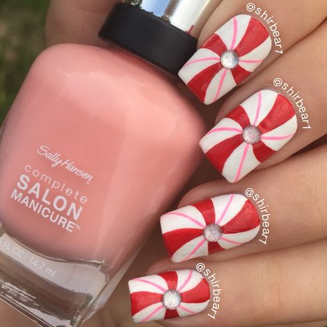 Candy Cane nail art, for more nail arts go follow me on Instagram @shirbear1 and check my youtube channel Shirbear1