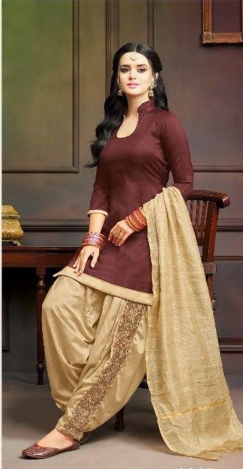 Brown Print Patiyala Suit Suit With Light Brown Patiyala Pant