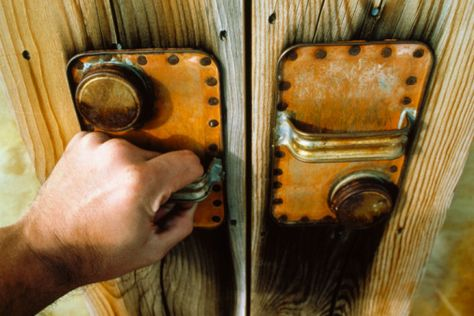 Turpentine Can Tops Used as Door Handles  #Man #Cave #Garage