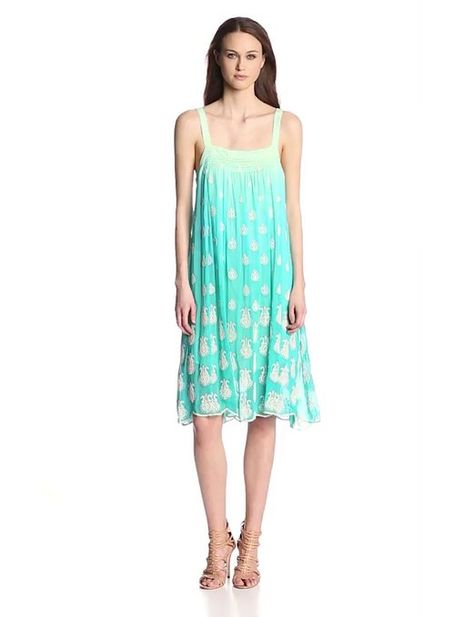 bacd493139e1 Plenty by Tracy Reese Women's Flyaway Boutie Embroidered Midi Dress,  Waterfall, Small
