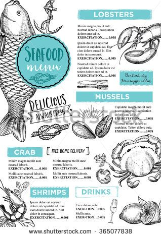 Seafood Restaurant Brochure Menu Design Vector Cafe Template