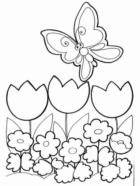 Disegni Da Colorare Primavera.Disegno Per La Primavera Con Fiori E Farfalle Prato Di