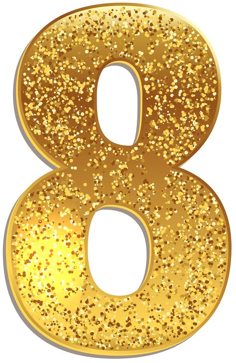Number Eight Gold Shining PNG Clip Art Image | Gallery Yopriceville - High-Quality Images and Transparent PNG Free Clipart