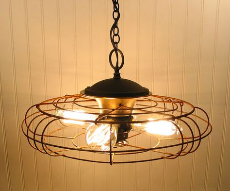A vintage fan takes on a new life as an industrial light. The result is illuminating...