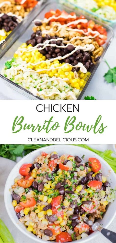 This Chicken Burrito Bowl recipe is an easy and healthy way to meal prep. Made with ground chicken cilantro lime cauliflower rice black beans corn and tomatoes they make a great lunch or a simple dinner for busy weekdays. Watch the video for instructions! Good Healthy Recipes, Clean Recipes, Vegetarian Recipes, Healthy Food Prep, Crockpot Recipes, Fast Healthy Dinners, Healthy Delicious Meals, Healthy Ground Chicken Recipes, Simple Healthy Dinner Recipes