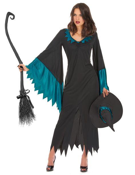 Disfraz de bruja para mujer ideal para Halloween  Este disfraz de bruja  para mujer incluye un vestido y un sombrero negro. El vestido es amplio y  lleva una ... 8647841e4f1