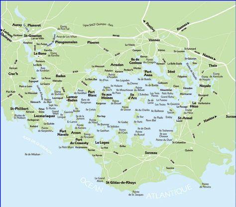 Carte Detaillee Du Golfe Du Morbihan Et Des Ses Ile Ile De