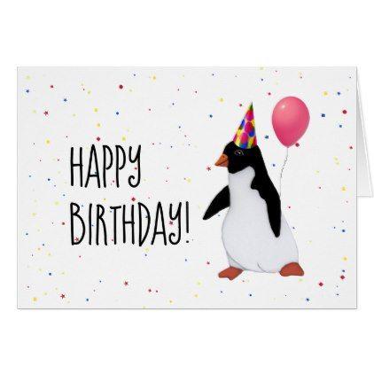 Penguin With Balloon Birthday Card Zazzle Com Birthday Card Drawing Birthday Balloons Birthday Cards