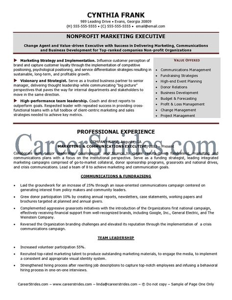 nonprofit professional resume NonprofitResume Sample - change agent sample resume