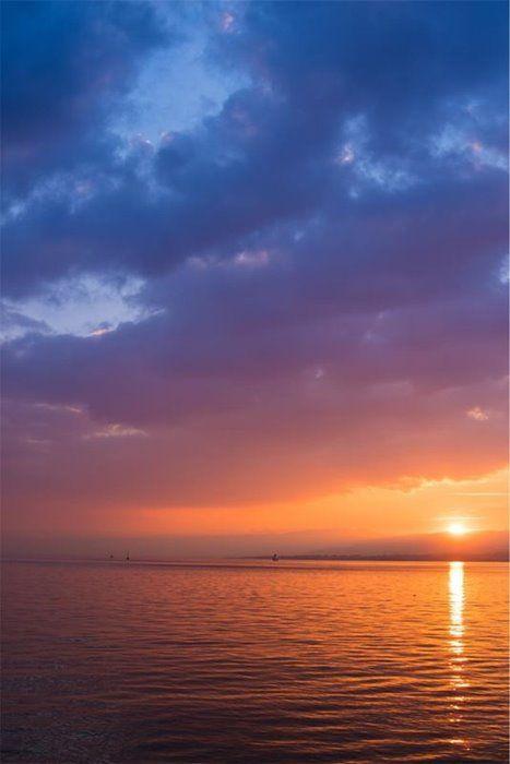 Sunset Dusk Sky Clouds Purple Ocean Dusk Sky Sunset