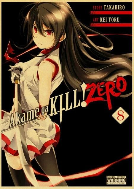 Japanese Anime Akame Ga Kill Poster Vintage Wall Picture for Home Room Wall Decor Retro Art Painting - 21x30cm / Light Grey