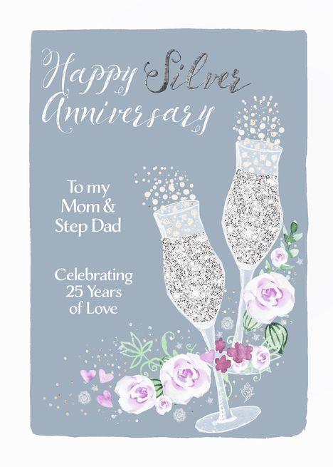 Mom Step Dad Happy Silver Anniversary Champagne Card Ad Sponsored Dad H Wedding Anniversary Cards Silver Wedding Anniversary Happy 25th Anniversary