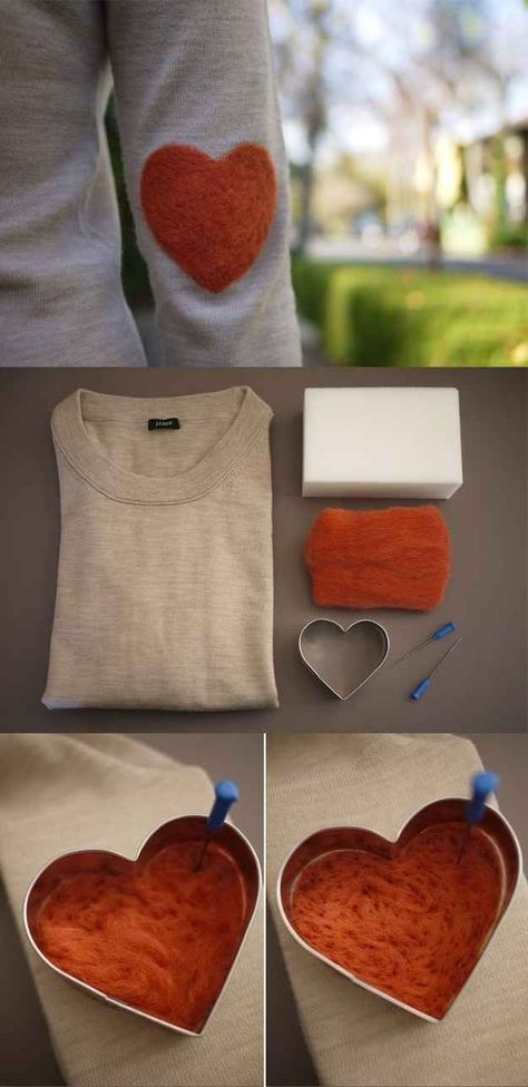 What a great way of up-cycling an old jumper with some needle felting - Elb. What a great way of up-cycling an old jumper with some needle felting – Elbow Patch Tutorial Felt Crafts, Diy Crafts, Recycled Crafts, Craft Projects, Sewing Projects, Craft Ideas, Elbow Patches, Iron Patches, Crafty Craft
