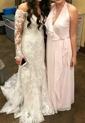 Martina Liana 870 Ivory Wedding Gown Dress Illusion Lace Long