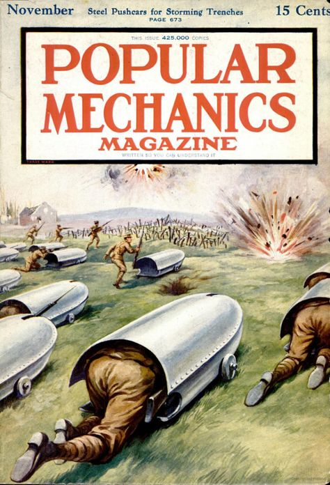 I Guerra Mundial. 100 Years Later: Popular Mechanics' Coverage of World War I Vintage Comics, Vintage Posters, Funny Vintage Ads, Military Art, Military History, Arte Steampunk, Science Magazine, Popular Mechanics, Science Fiction Art