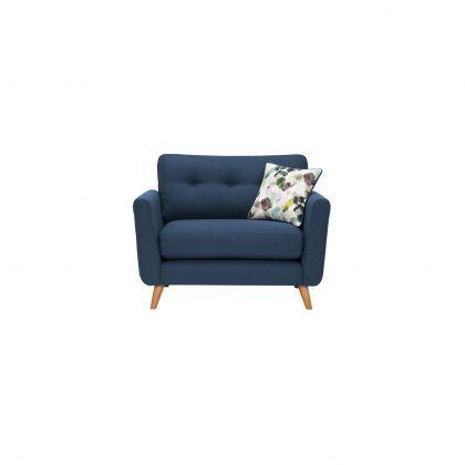 Evie Loveseat In Blue Fabric Love Seat Oak Furnitureland Blue Fabric Sofa