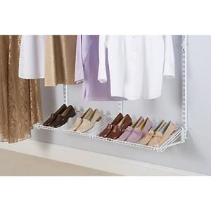 Ez Shelf 12 Ft Steel Closet Organizer Kit With 2 Expandable Shelf And Rod Units In White With End Brac Wire Closet Systems Closet Organizer Kits Closet System
