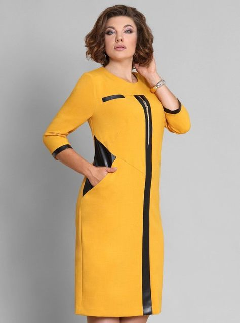 Лимонное платье с искусственной кожей – купить в интернет-магазине «L MARKA»   доставка по России 6a2b1530ed0