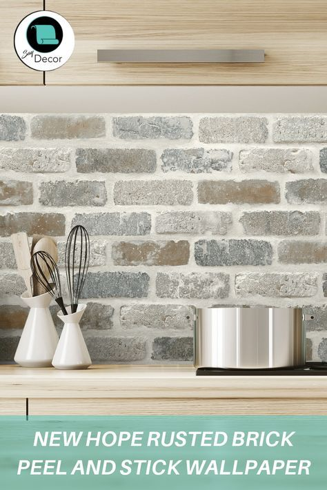 New Hope Rusted Brick Peel And Stick Wallpaper Kitchen Wallpaper Diy Backsplash Brick Backsplash Kitchen