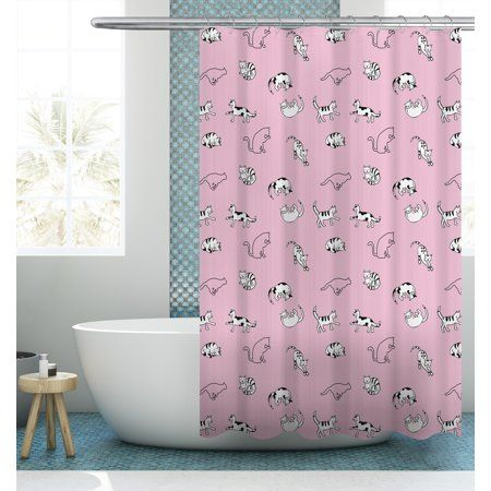 Your Zone Yoga Cat Shower Curtain 72 72 Pink Cat Shower Curtain