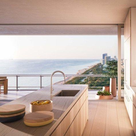 Novak Djokovic Purchased a Renzo Piano-Designed Apartment in Miami - Spectacular kitchen with Atlantic Ocean view. Miami Beach Condo by Renzo Piano. Dream Home Design, My Dream Home, Home Interior Design, House Design, Interior Paint, Dream House Interior, Interior Colors, Dream Life, Modern Interior