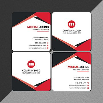 Creative Square Size Business Card In Red Black Name Card Design Business Card Red Creative Company