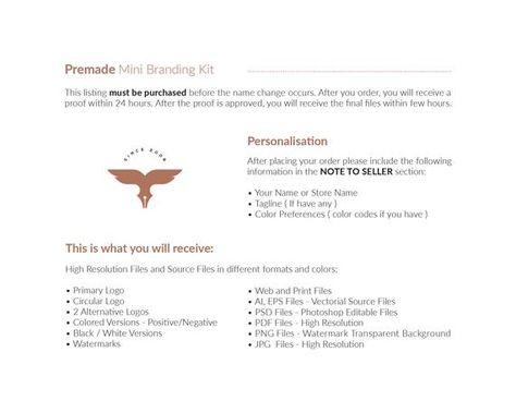 Elegant Branding Kit. Branding Kit. Premade Logo. Custom Logo Design. Branding Kit. Logo. Logo Desig