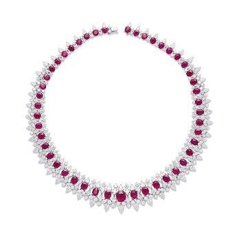Burmese Mogok ruby and diamond necklace, natural red color, NO